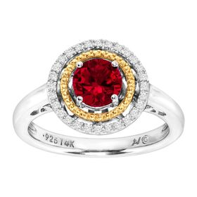 Ruby Double Halo Ring with Diamonds