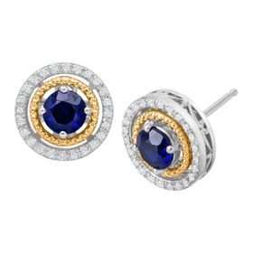 Sapphire & 1/8 ct Diamond Double Halo Earrings