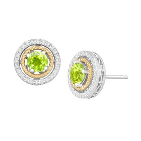 Peridot & 1/8 ct Diamond Double Halo Earrings
