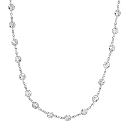 Cubic Zirconia Studded Necklace, Silver