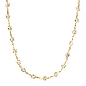 Cubic Zirconia Station Necklace, Yellow