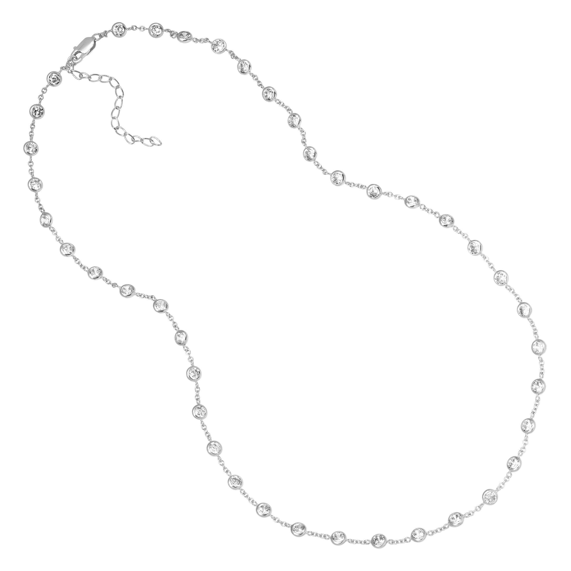 52e0e4ecd37fd Details about Cubic Zirconia Station Necklace in Rhodium-Plated Sterling  Silver, 18