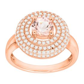 5/8 ct Morganite Halo Ring with Cubic Zirconias