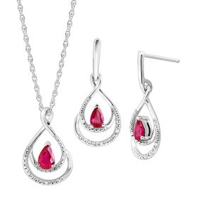 Ruby Pendant & Earrings Set with Diamonds