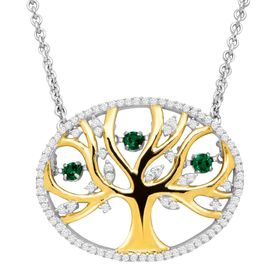 Emerald Tree of Love Floater Necklace with Cubic Zirconia