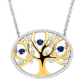 Sapphire Tree of Love Floater Necklace with Cubic Zirconia