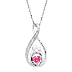 3/4 ct Pink & White Sapphire Mother & Child Pendant