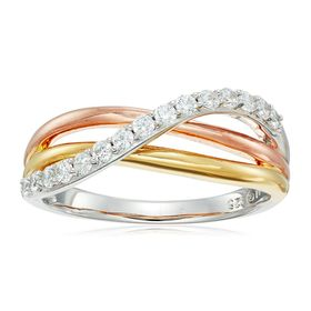 Three-Tone Twist Ring with Cubic Zirconia