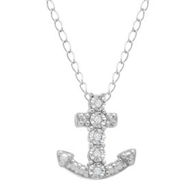 Anchor Pendant with Blue Diamonds