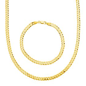Men's Cable Chain Necklace & Bracelet Set, Yellow