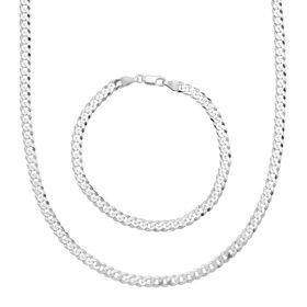 Men's Cable Chain Necklace & Bracelet Set, White