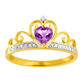 Amethyst & Cubic Zirconia Crowned Heart Ring, Yellow