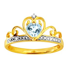 Blue Topaz & Cubic Zirconia Crowned Heart Ring, Yellow