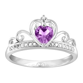 1/3 ct Amethyst & Cubic Zirconia Crowned Heart Ring, White