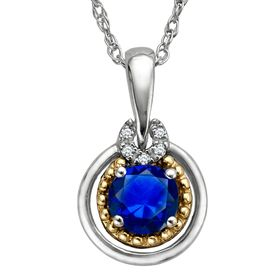 1 3/4 ct Sapphire Two-Tone Pendant with Diamonds