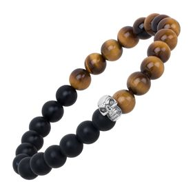 Black Agate & Tiger's Eye Skull Stretch Bracelet