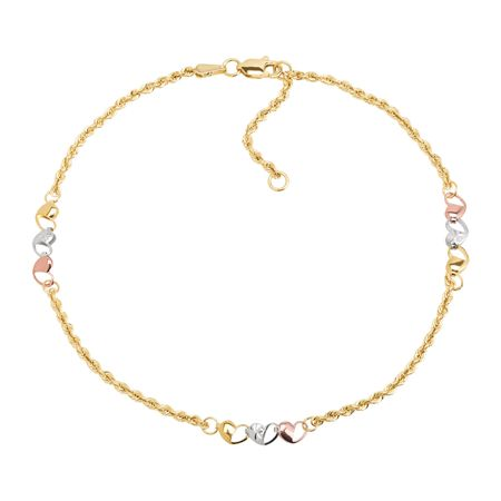 Three-Tone Heart Chain Anklet