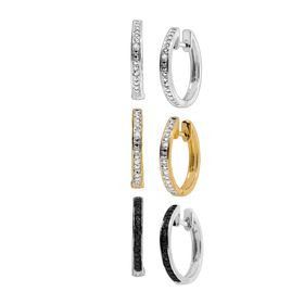 Hoop Earring Set with Diamonds