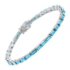 Swiss Blue Topaz Emerald-Cut Tennis Bracelet, 6.75""