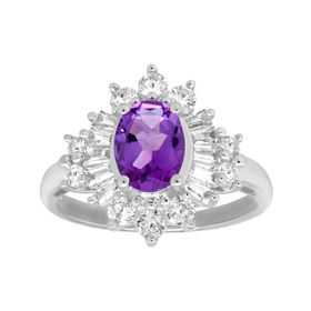 2 1/4 ct Amethyst & White Sapphire Ring