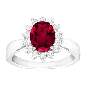 3 1/6 ct Ruby & White Sapphire Ring