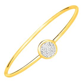 Disc Bangle Bracelet with Swarovski Crystals, Yellow