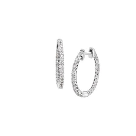 1/2 ct Diamond Hoop Earrings, White
