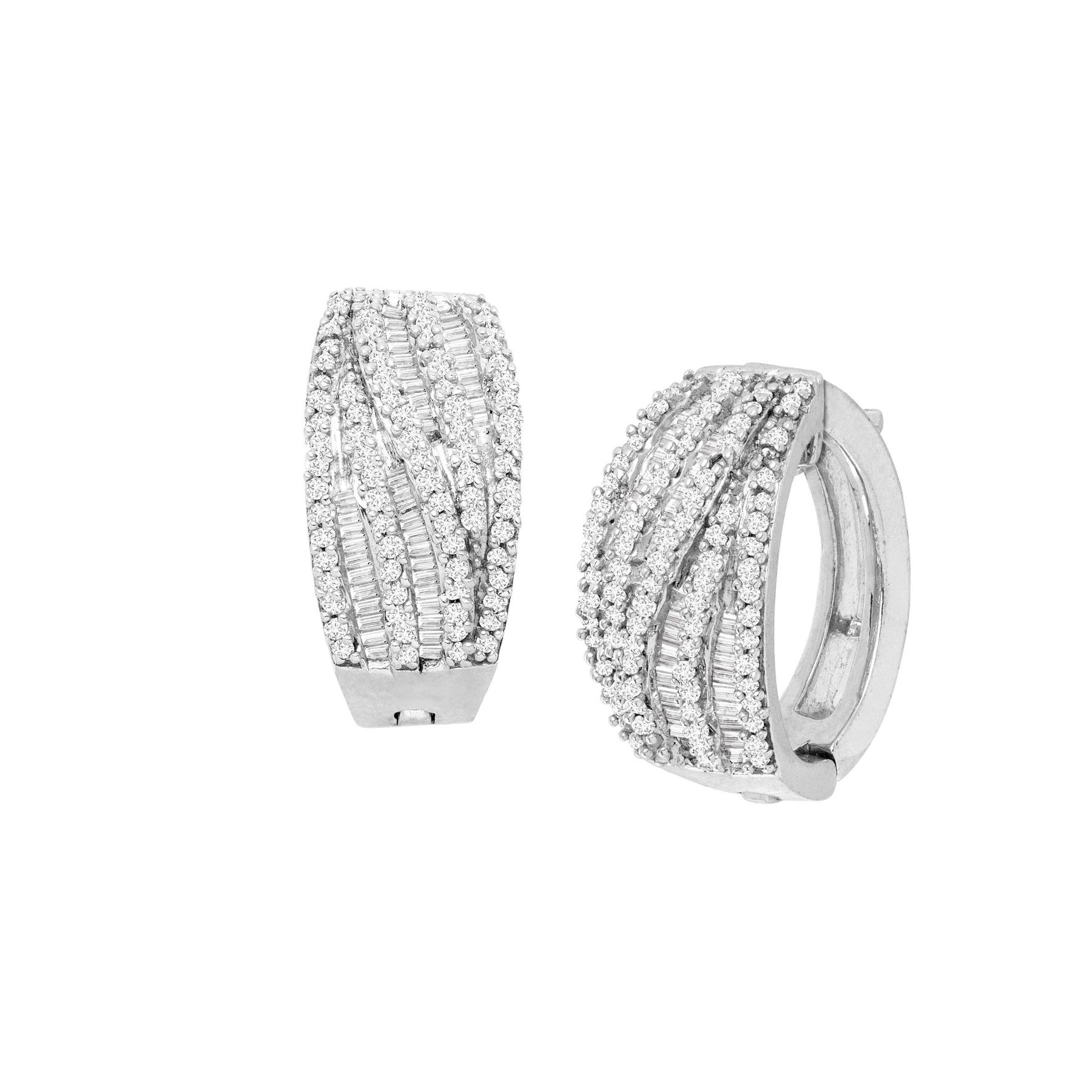 1 Ct Diamond Wide Hoop Earrings In 14k White Gold