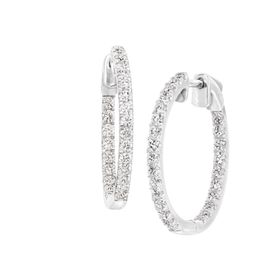 1 ct Diamond Hoop Earrings, White
