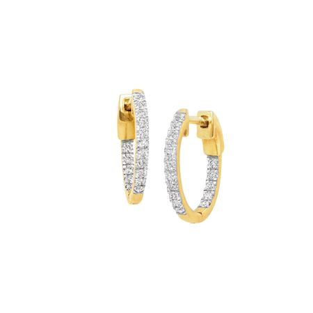 1/4 ct Diamond Hoop Earrings, Yellow