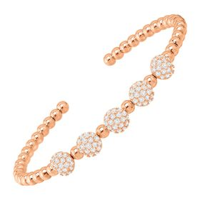 Beaded Cuff Bracelet with Cubic Zirconias, Rose