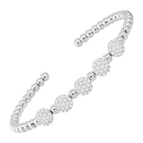 Beaded Cuff Bracelet with Cubic Zirconias, White