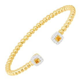 Beaded Cuff Bracelet with Cubic Zirconias, Yellow