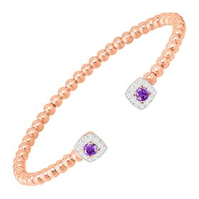 Beaded Cuff Bracelet with Cubic Zirconias, Pink