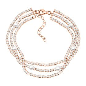 Layered Bracelet with Freshwater Pearls & Cubic Zirconias, Pink