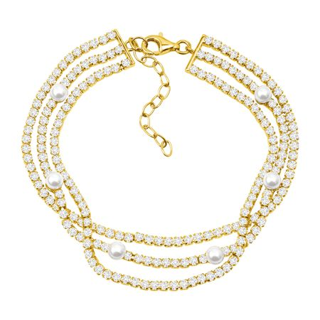 Layered Bracelet with Freshwater Pearls & Cubic Zirconias, Yellow