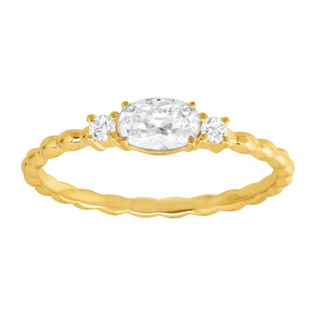 Dainty Ribbed Ring with Cubic Zirconias, Yellow