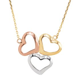 Three-Tone Open Heart Trio Necklace