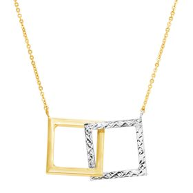 Two-Tone Interlocking Square Necklace