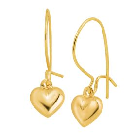 Puffed Heart Drop Earrings