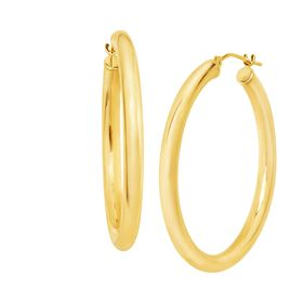 35 mm Round Tube Hoop Earrings