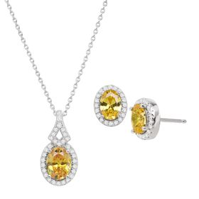 Citrine & White Sapphire Earrings & Pendant Set