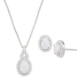 Opal & White Sapphire Earrings & Pendant Set