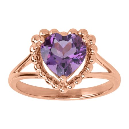 Amethyst Beaded Heart Ring