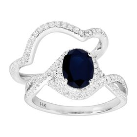 1 1/2 ct Diamond & Sapphire Bridal Ring Set