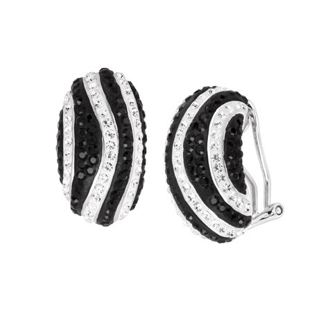 Striped Drop Earrings with Crystals