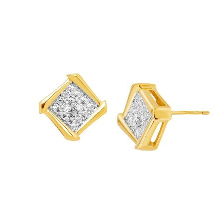Framed Square Stud Earrings with Diamonds
