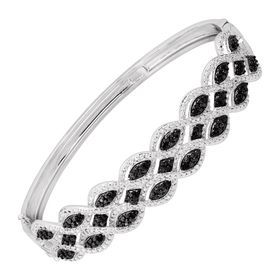 1/3 ct Black & White Diamond Bangle Bracelet