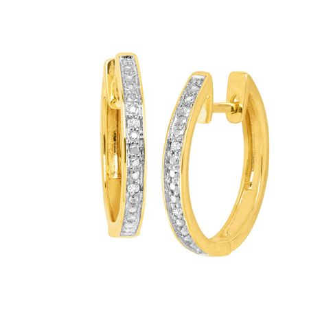 Hoop Earrings with White Diamonds, Yellow