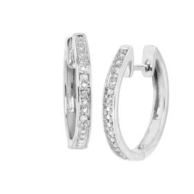 Hoop Earrings with White Diamonds, White